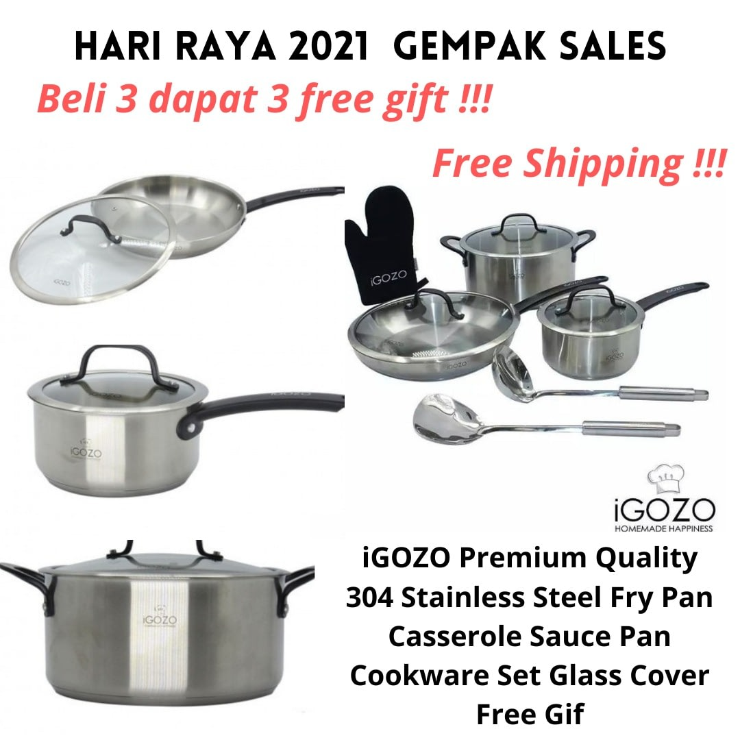 iGOZO Premium Quality 304 Stainless Steel Fry Pan Casserole Sauce Pan Cookware Set Glass Cover Free Gift