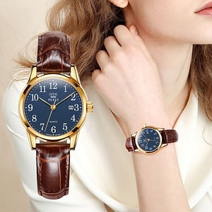 Womens Watches Genuine Brown Leather Waterproof