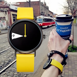 Lady Clock Rotate Yellow Leather Band Wristwatches
