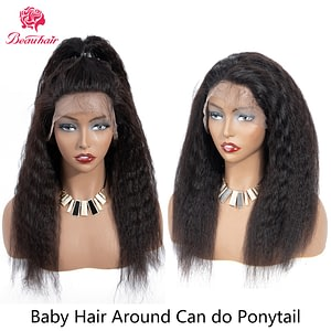 Kinky Straight Wig 360 Lace Frontal Human Hair Wigs