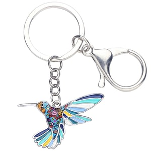 Alloy Floral Hummingbird Bird Key Chain