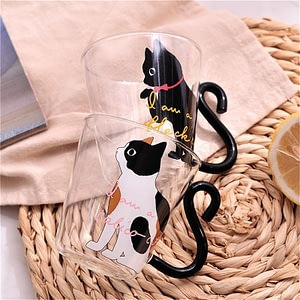 Glass Mug Cup Tea Cup Cartoon Kitty Home Office