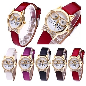 Cute Glasses Cat Women Watches Casual