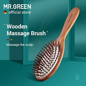 Hair Brush Nature Wooden Anti-Static Detangler