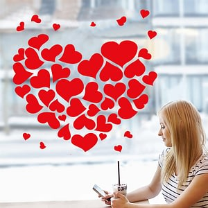 Red Sticker Heart Wall Sticker Self-adhesive