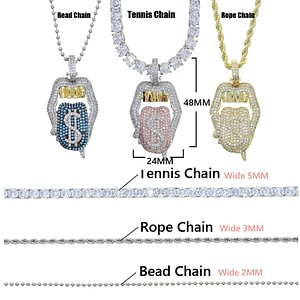Sexy Mouth Pendant Necklace Dollar Color Hip Hop