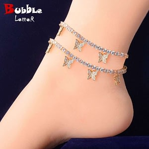 Butterfly Pendant Chain Anklets Hip Hop Jewelry
