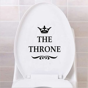 The Throne Crown Stickers Black Toilet Seat
