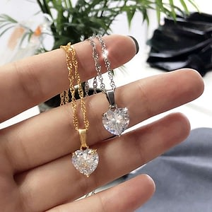 Heart Necklaces Stainless Steel Gold Chain Zircon