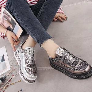 Footwear Diamond Flats Casual Shoes Women Slip Sneakers Silver Loafers Crystal Leather Girl Trainers