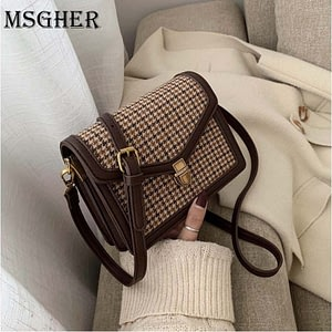 MSGHER Solid Color PU Leather Crossbody Bags For Women 2021 Chain Shoulder Messenger Bag Female Travel Lock Handbags