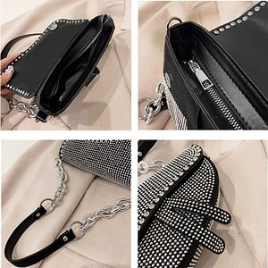 Elegant Women's Bag Sparkling Diamond Pure Color Saddle Handbag Luxury Chain Strap PU Leather Crossbody Bag