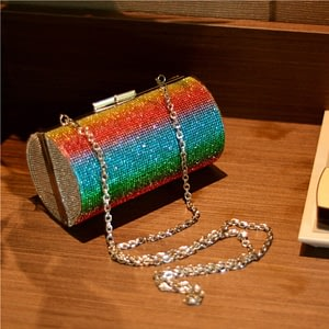 Rainbow Rhinestone Purse Evening Bags for Women Luxury Party Handbag for Wedding Clutch Bag Diamond Cylinder Shoulder Bag