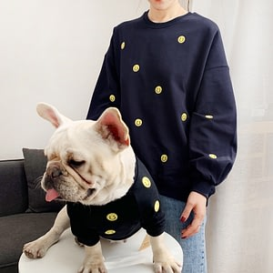 Smile Face Family Matching Outfits Clothes For Dog Small Medium Dog Bulldog Coat Jacket Spring Dog Women Hoodie Shirt Pajamas