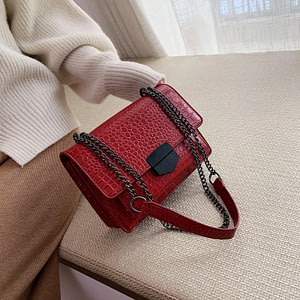 Vintage Crocodile Pattern Chain Women's Shoulder Crossbody Bags Fashion Ladies Messenger Bag Evening Clutch Female Purses