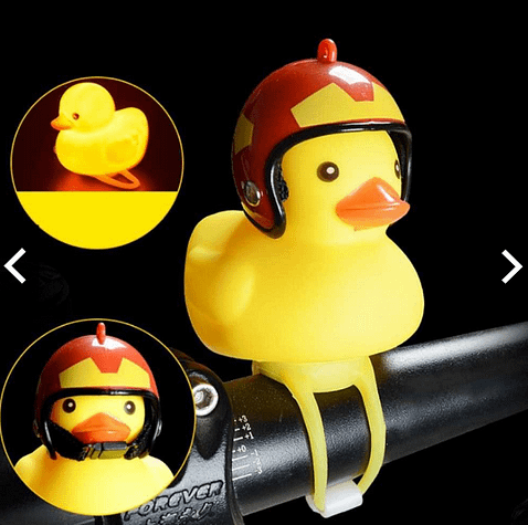 Cute Little Yellow Duck with Helmet LED Light for Bike Motorcycle