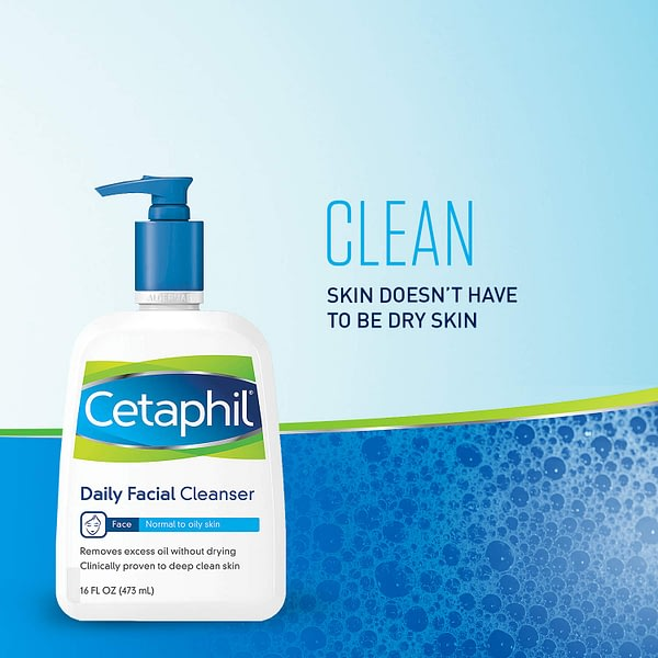 Cetaphil Facial Cleanser, Daily Face Wash for Normal to Oily Skin