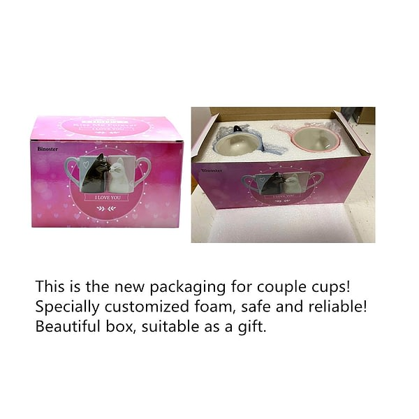 2pcs Luxury Kiss Cat Cups Couple Ceramic Mugs