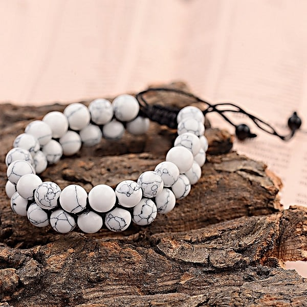 Macrame Bracelet Couple Natural Matte Stone