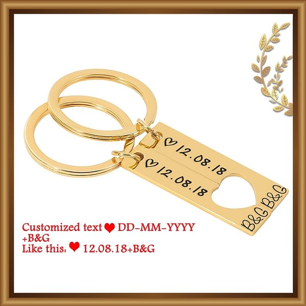Customized Couples Keychain Date