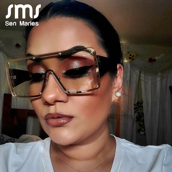 Sunglasses Fashion Oversized Metal Frame