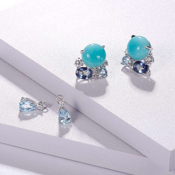 Natural Amazonyte Blue Topaz Gemstone Drop Earrings