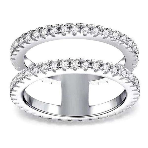 Silver Colour Ring Simple Double Layer Rhinestone