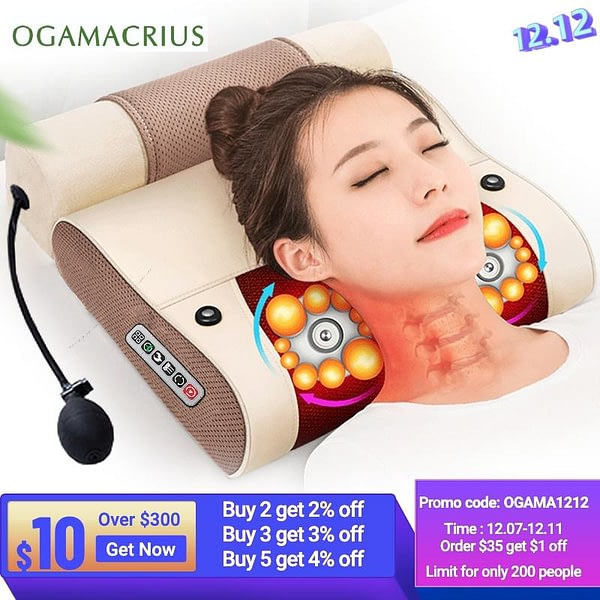 2 In1Massage Pillow Heat Vibrator S For Back Neck