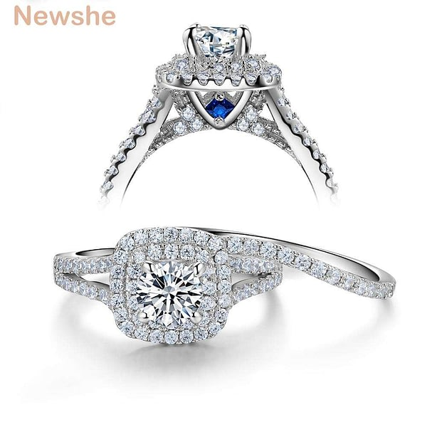 Ring Sets Victorian Style Blue Side Stones Classic