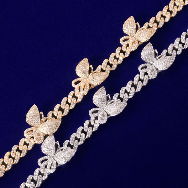 10mm Gold Miami Cuban Link Anklets With Butterfly