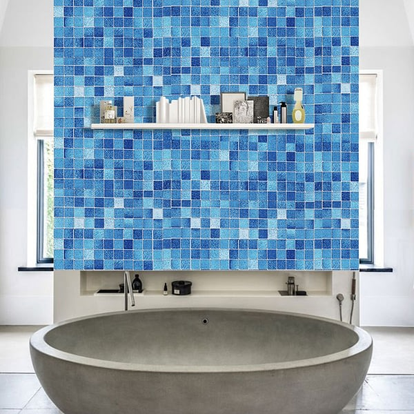 Kitchen Oil Proof Blue Square Wallpaper Self-adhesive