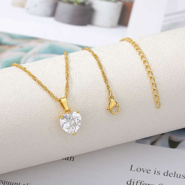 Goth Heart Necklace Gold Zircon Stainless