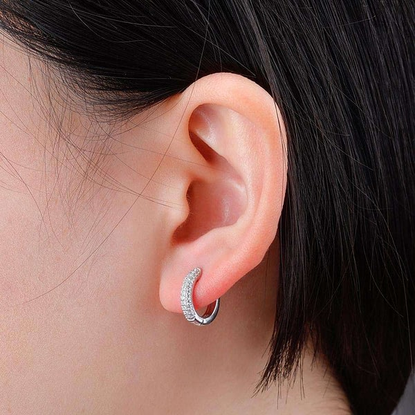Round Earring Iced Micro Pave Cubic Zirconia