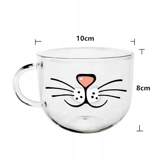 Glass Cup Cat Face Mugs Coffee Creative Gift