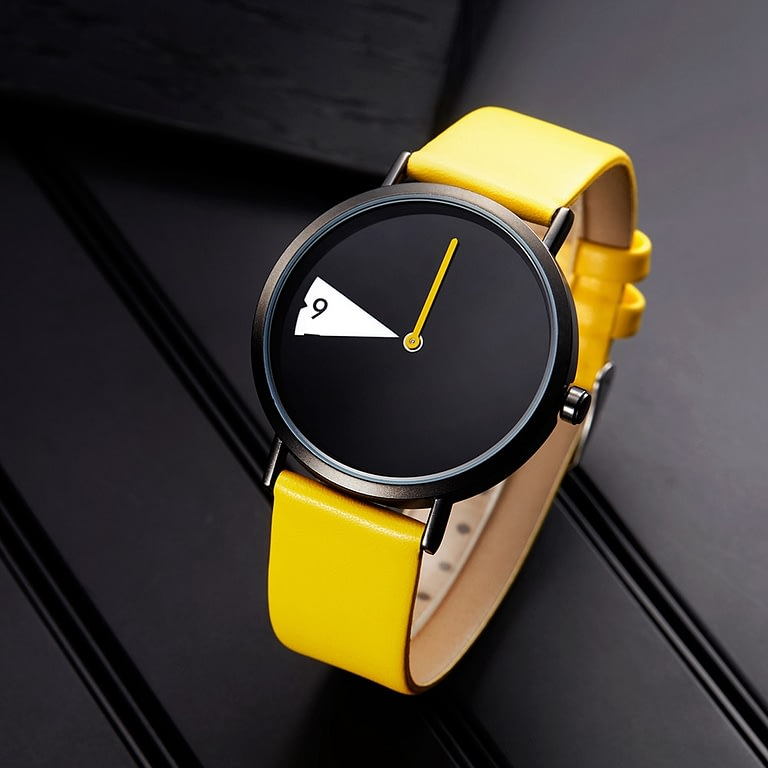 LADY CLOCK ROTATE YELLOW LEATHER