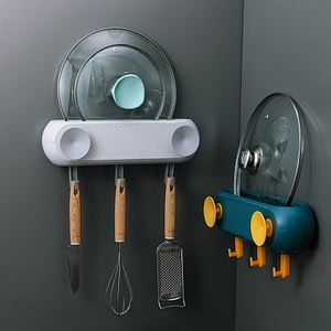 Kitchen Wall Hanging Pot Lid Rack With Hooks