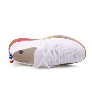 Ladies Lace-Up Soft Flats Lightweight Sneakers