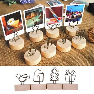Creative Round Wooden Iron Photo Clip