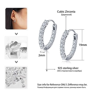 Sterling Silver Hoop Earrings Sparkling Cubic Zirconia