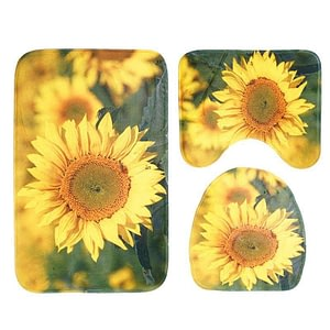 3pcs/set Sunflower Pattern Bathroom Toilet Mats