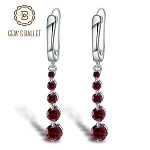 Natural Red Garnet Gemstone Drop Earrings