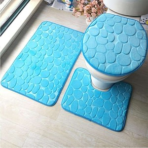 3Pcs Bathroom Mat Set Cushion Toilet Seat Cover