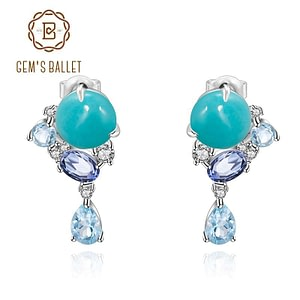 Natural Amazonyte Blue Topaz Gemstone Earring