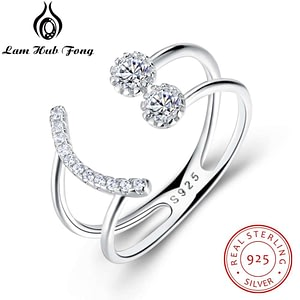 Silver Ring Sparkling Cubic Zirconia Smile Face