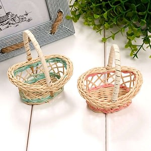 2pcs Mini Plastic Weaving Storage Basket Fruit
