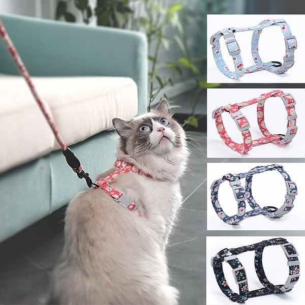 Cat Dog Collar Harness Leash traction rope chest