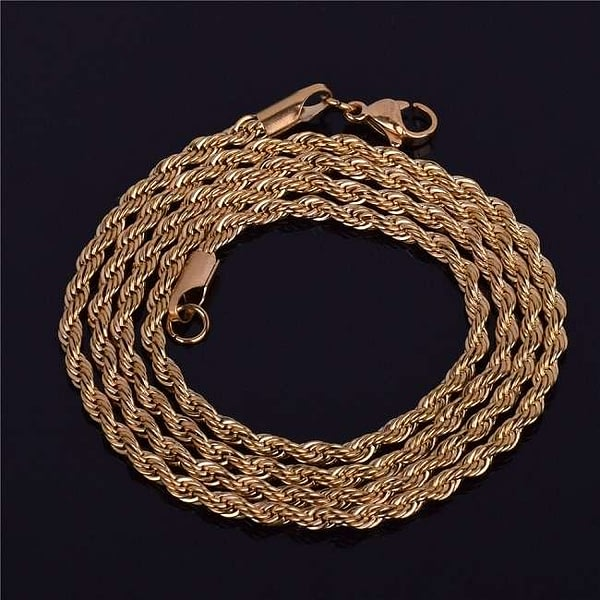 Rope Chain Necklace Gold Color Stainless Steel